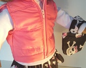 18 Inch PUFFER VEST Doll Clothes Light Pink for Winter doll wardrobe