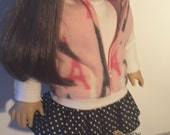 18 Inch Doll Clothes Effiel Tower Fleece VEST Polka Dot Skirt White Top