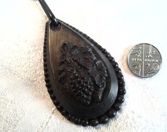 Victorian Mourning Pendant, Pressed Horn. Whitby Jet Substitute.