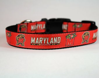 Maryland dog collar, UMD inspired, University of Maryland dog collar, terrapin Inspired, college graduation gift, pet accessory, Bozies Bags