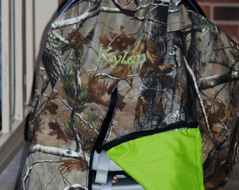 Car seat canopy - Camoflauge - real tree camo (Monogramming and zipper included)