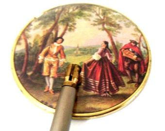 Vintage Hand Held Mirror,Celluloid, Adjustable Swivel Wooden Handle,Victorian Scene