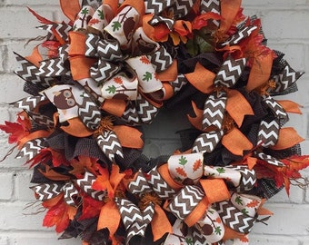 Fall Owl Wreath Ruffle Wreath, Fall Wreath, Owl Wreath, Ruffle Wreath
