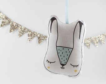 Arctic Hare Hanging Decoration Christmas Ornament Personalised Embroidery