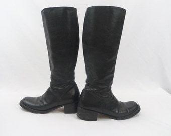 Vintage Italian black leather knee high riding/biker boots size 37.5
