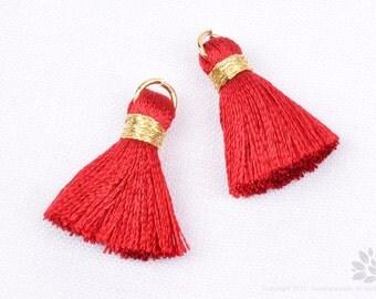 BULK Order: T002-RA-IG// 23mm Indian Red, Gold Rayon Tassel Pendant, 20pcs