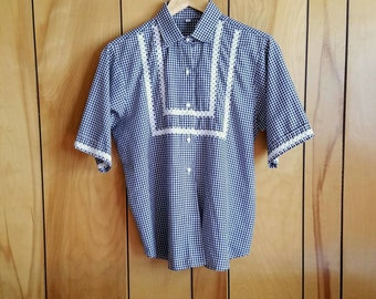 Vintage Navy & White Gingham Button Up//Size Medium
