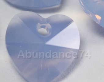 Swarovski Crystal 6202 Faceted Xilion Heart Pendant AIR BLUE OPAL - Available in 10mm and 14mm