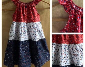 Fourth of July Peasant Style Sundress, girls size 6