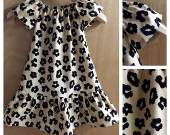 Corduory Fall/Winter Animal Print Peasant Dress, size 4t
