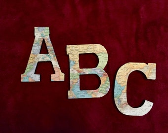Set of distressed ABC Map Block Letters