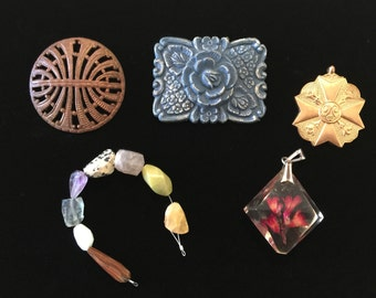 Vintage destash jewelry parts, pendants, celluloid, gemstone beads for repurpose or deconstruction