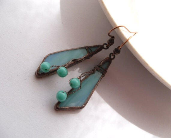 Stained glass earrings, gift for woman, bohemian jewelry, contemporary jewelry, turquoise, fashion jewelry, Turquoise icicle