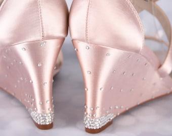 Blush Wedding Shoes, Wedge Wedding Shoes, Wedge Heels, Crystal Wedding Shoes, Flower Bridal Shoes, Custom Wedding, Wedding, Shoes