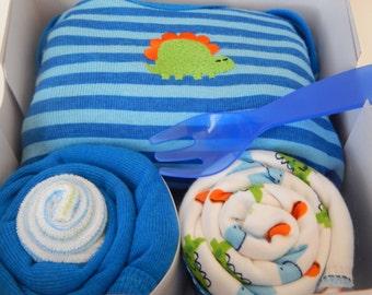 Blue Dinosaur Baby Boy Shower Theme Gift Box
