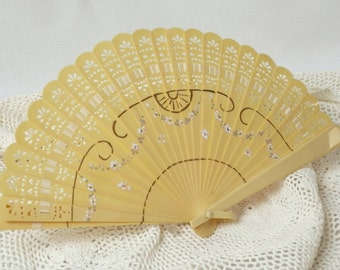 Vintage Art Deco Style Hand Held Fan Hand Painted Celluloid with Detailed Fret Work