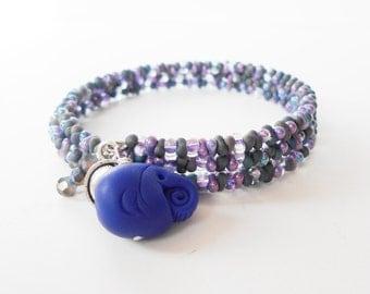 blue wraparound bracelet, beaded memory wire bracelet, stacking bracelet, elephant charm bracelet, boho jewelry, gift for her