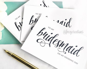 Bridesmaid Thank You Cards // Maid of Honor Gifts Thank You // Matron of Honor Gifts // Bridesmaid Gifts // Wedding Day Thank you Cards