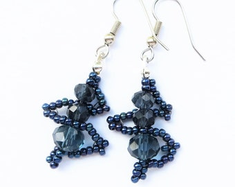 NAVY ELEGANCE- Handwoven Beaded Earrings- Ink Blue Seed Beads and Sparkling Crystals- Stainless Steel Earwires