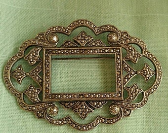 Vintage Miriam Haskell brooch signed silver tone picture frame faux marcasite