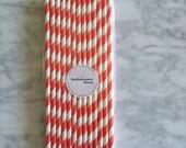 25 Coral and White Striped Paper Straws - Standard 7.75'' / 19.68cm
