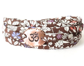 Om bracelet with chocolate brown Liberty fabric, Yoga bracelet for women, meaningful gifts for Yoga lovers
