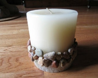 Pillar Candle Upcycled Handcrafted Mosaic Stone on Wax