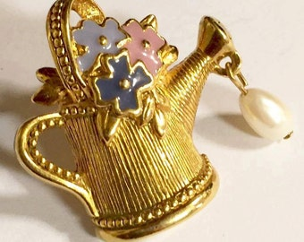 Vintage Watering Can with Flowers Lapel Pin