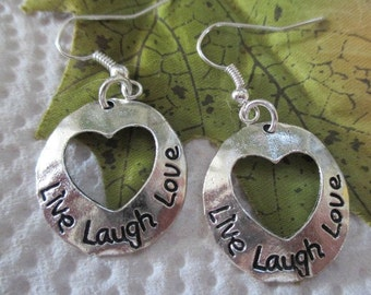 Live,Laugh, Love Silver Earrings