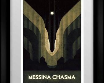 Space Travel Poster -Titania - Messina Chasma