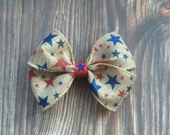 Rustic Red White & Blue Bow