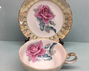 Filigree Rose Tea Cup and Saucer Pink Rose Yellow Cup