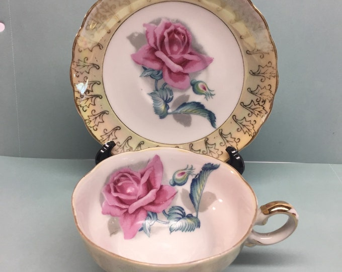 Featured listing image: Filigree Rose Tea Cup and Saucer Pink Rose Yellow Cup