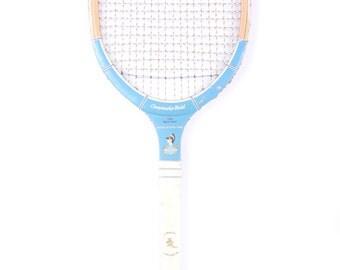 Vintage Wooden Tennis Racket / Rare Achillean Wooden Tennis Racket / Baby Blue Old Wood Tennis Racket / Antique Tennis Racket / Sports Decor