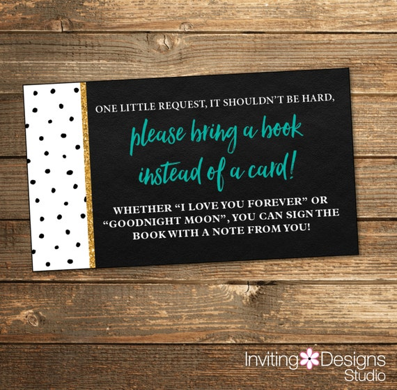Baby Shower Polka Dots Book Request - Gold Teal