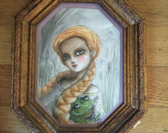 the frog hugger  original watercolor painting framed  free shipping