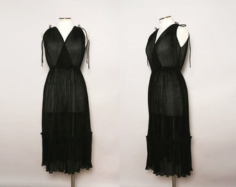 Vintage 70s Sheer Black Dress / 1970s Pleated Party Dress / Size Small