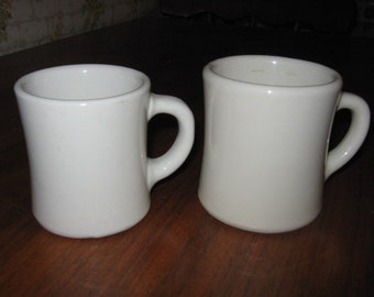 Two Victor China Coffee Mugs One Tan and One White