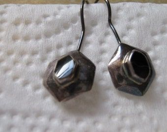 Vintage Black Onyx Sterling Silver Wire Earrings