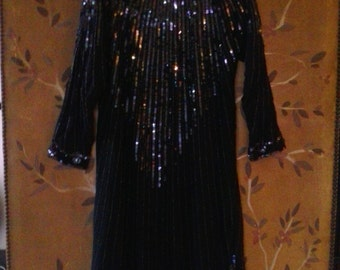 80s black silk beaded and sequined dress with matching neck tie by Swee Lo