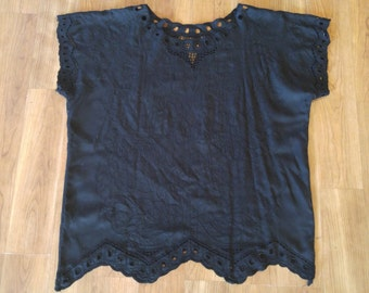 80s Black embroidered blouse