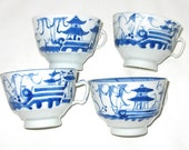 Antique Set of Hand Painted Tea Cups