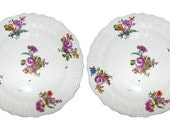Pair of 19th Century European Hand Painted Floral China Plates