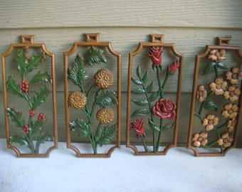 Vintage  four season metal wall hanging plaques  flowers