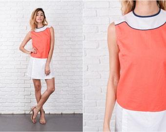 Orange + White Mod Mini Dress Vintage 60s Color Block drop waist Small S 8334