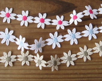 "Cotton Daisy Trim Venise Lace White Pink White Blue or Natural Taupe 1"" Wide (1 Yard)"