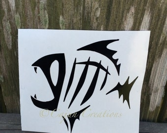 Fish skeleton Decal, car decal, fishing decal, vehicle decal, vinyl decal, decals for men, fisherman gifts, fish bone, custom decals