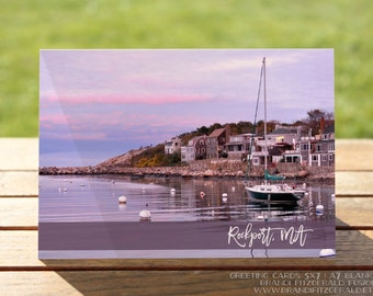 Rockport MA Greeting Card | Purple Sunset Sailboat and Beach Homes Nautical | A7 5x7 Folded - Blank Inside - Wholesale Available