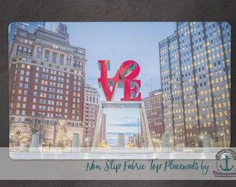 Placemat - Love Park | Philadelphia Landmark Hometown Decor | Anti Skid/Non Slip Fabric Top Rubber Backed Awesomeness
