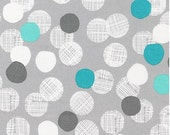 Lagoon Medium Dots on Grey from Robert Kaufman's Light and Shade Collection by Lisa Tilse